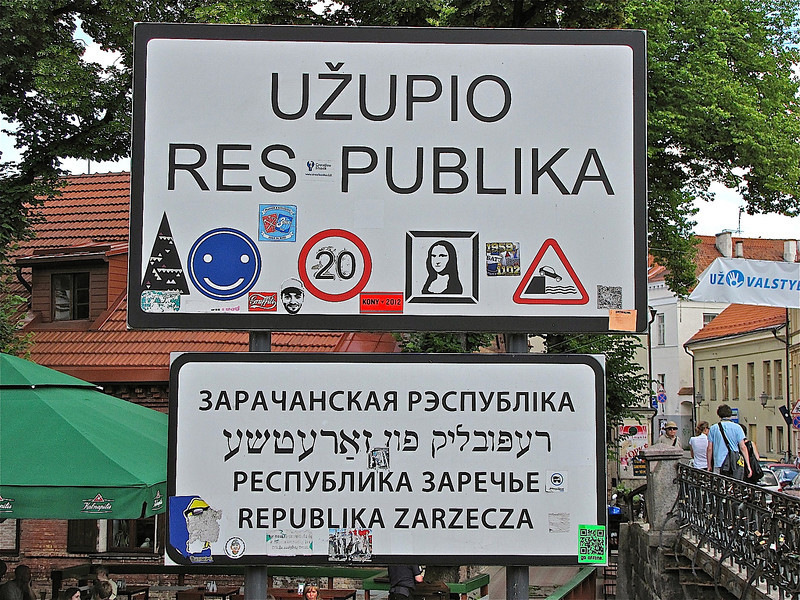 "going into the ""Republic of Uzupio"" (meaning 'other side of the river') - a community of free-thinkers and artists in Vilnius."