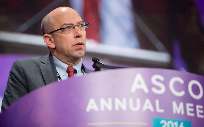 Charles M. Rudin, MD, PhD, presenting LBA8505, Safety and efficacy of single-agent rovalpituzumab tesirine (SC16LD6.5), a delta-like protein 3 (DLL3)-targeted antibody-drug conjugate (ADC) in recurrent or refractory small cell lung cancer (SCLC) during Lung Cancer? Non-Small Cell Local-Regional/Small Cell/Other Thoracic Cancers Oral Abstract Session