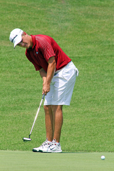 Sebastian Cappelen of Odense, Denmark rolls a putt during the semifinals of the 111th Western Amateur at The Alotian Club in Roland, AR. (WGA Photo/Ian Yelton)