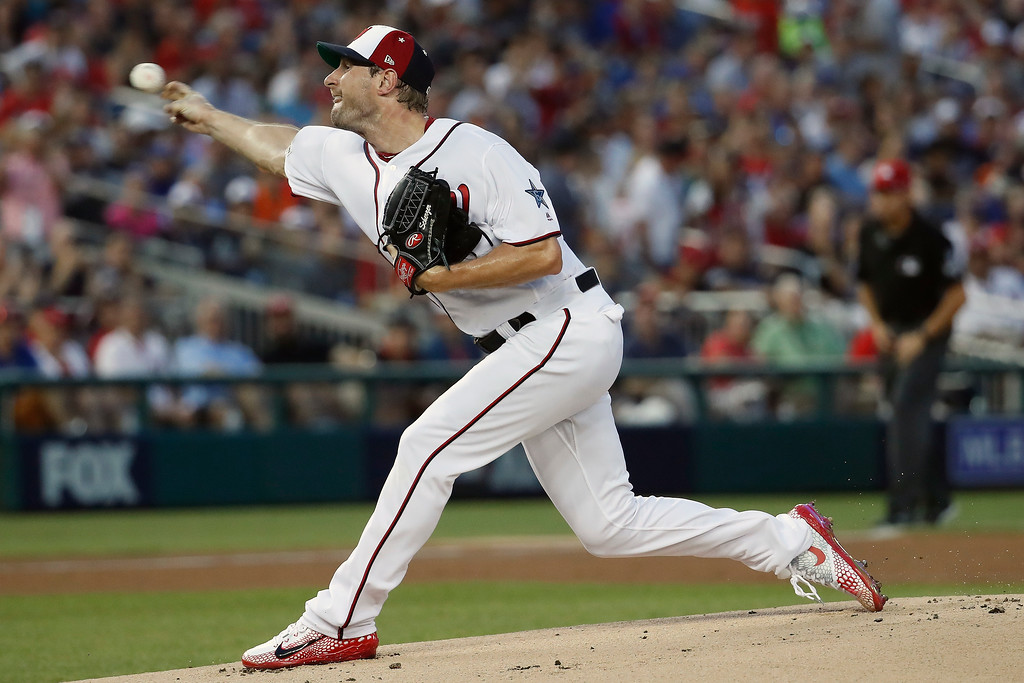 . Washington Nationals pitcher Max Scherzer (31) throws during the first inning of the Major League Baseball All-star Game, Tuesday, July 17, 2018 in Washington. (AP Photo/Alex Brandon)
