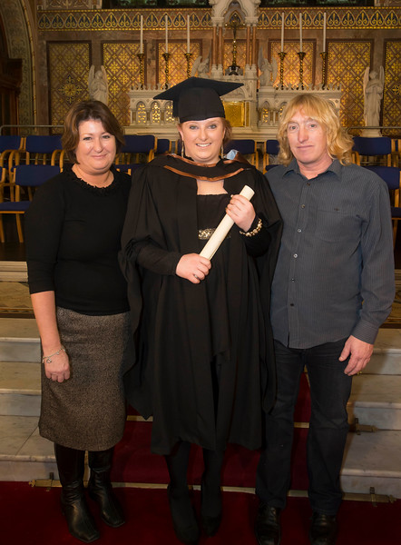 Pictured is Rachel Seymore, Thurles who graduated Bachelor of Arts (Hons) in Early Childhood Studies. Also pictured are Francis and Tony Seymore. Picture: Patrick Browne.