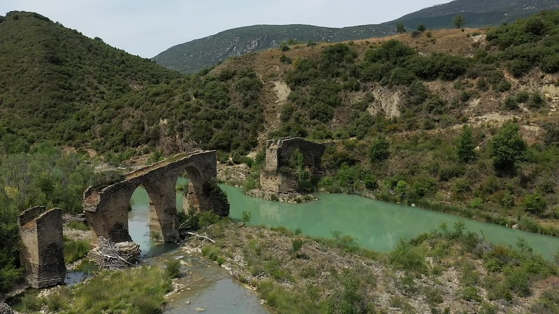 Available in 4k - Aerial drone clip showing abandoned village of at the Embalse de Yesa