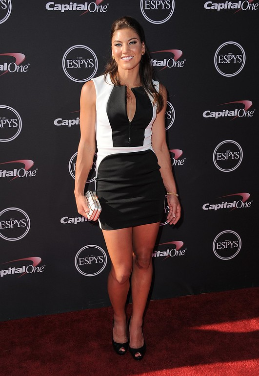 . Soccer player Hope Solo arrives at the ESPY Awards on Wednesday, July 17, 2013, at Nokia Theater in Los Angeles. (Photo by Jordan Strauss/Invision/AP)