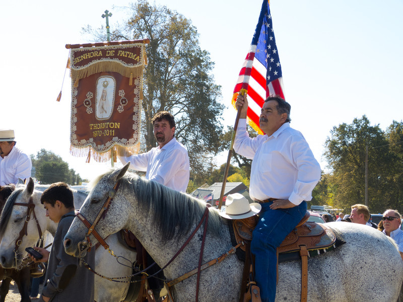 "Riders in the annual Portuguese ""Our Lady of Fatima"" Celebration parade in Thorton, CA."