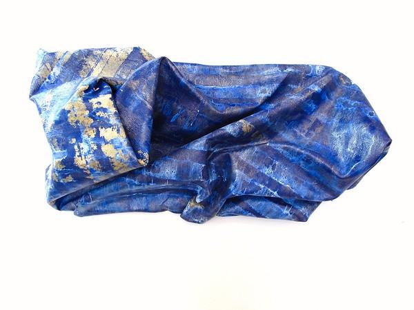 "Blue Crumple-Iorillo, 13""x30""x8"" sculptured canvas"