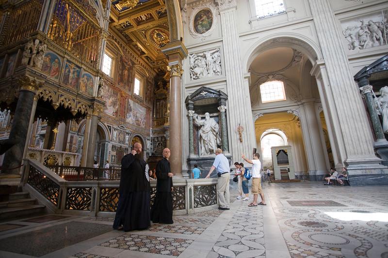 A couple of priests in Saint John Lateran basilica, Rome