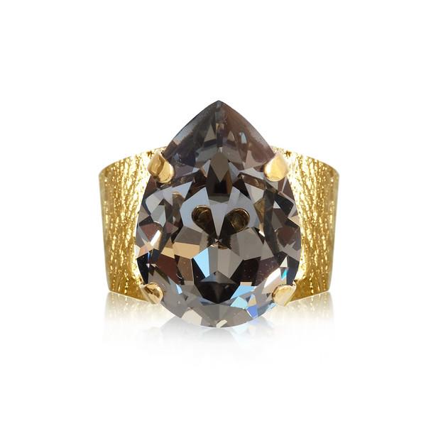 Classic Drop Ring / Black Diamond / Gold