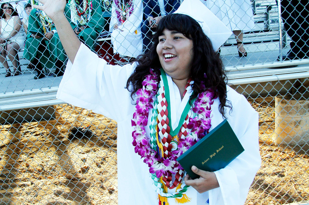 ". Brianna Concho receives her diploma in ""Highest Honors,\"" during Schurr High School 2013 Commencement Exercises, at Ken Davis Field, at Schurr High School in Montebello, Thursday, June 20, 2013. (Correspondent Photo by James Carbone/SWCITY)"