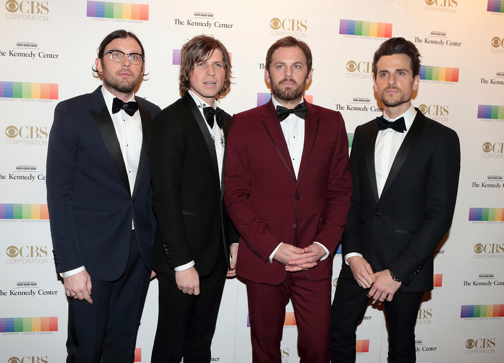. Matthew Followill from left, Caleb Followill, Nathan Followill and Jared Followill of the band The Kings of Leon attend the 39th Annual Kennedy Center Honors at The John F. Kennedy Center for the Performing Arts on Sunday, Dec. 4, 2016, in Washington, D.C. (Photo by Owen Sweeney/Invision/AP)