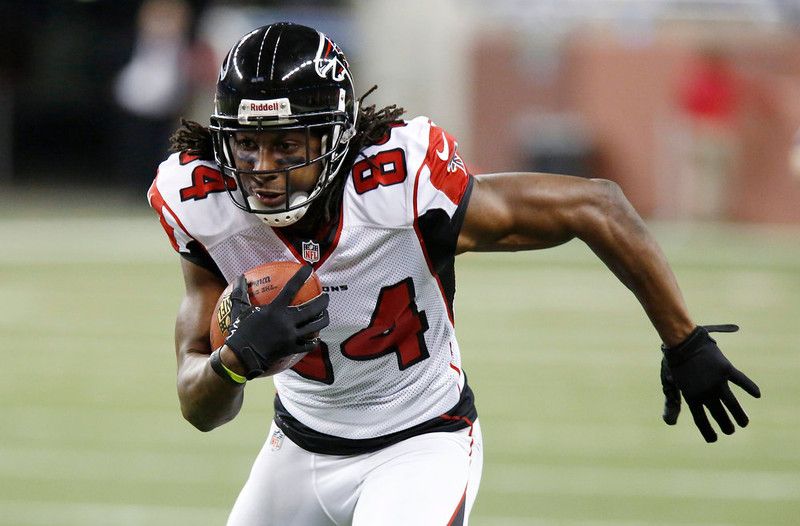 . Atlanta Falcons wide receiver Roddy White runs for a 39-yard touchdown during the second quarter of an NFL football game against the Detroit Lions at Ford Field in Detroit, Saturday, Dec. 22, 2012. (AP Photo/Duane Burleson)