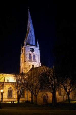 Chesterfields Croocked Spire by night