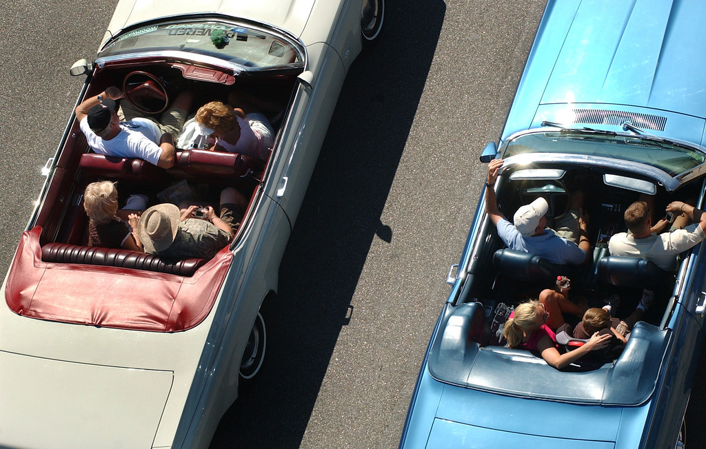 . Cruisers head southbound on Woodward Avenue during the annual Dream Cruise.  Photo taken on Saturday, August 16, 2008, in Birmingham, Mich.  (The Oakland Press/Jose Juarez)