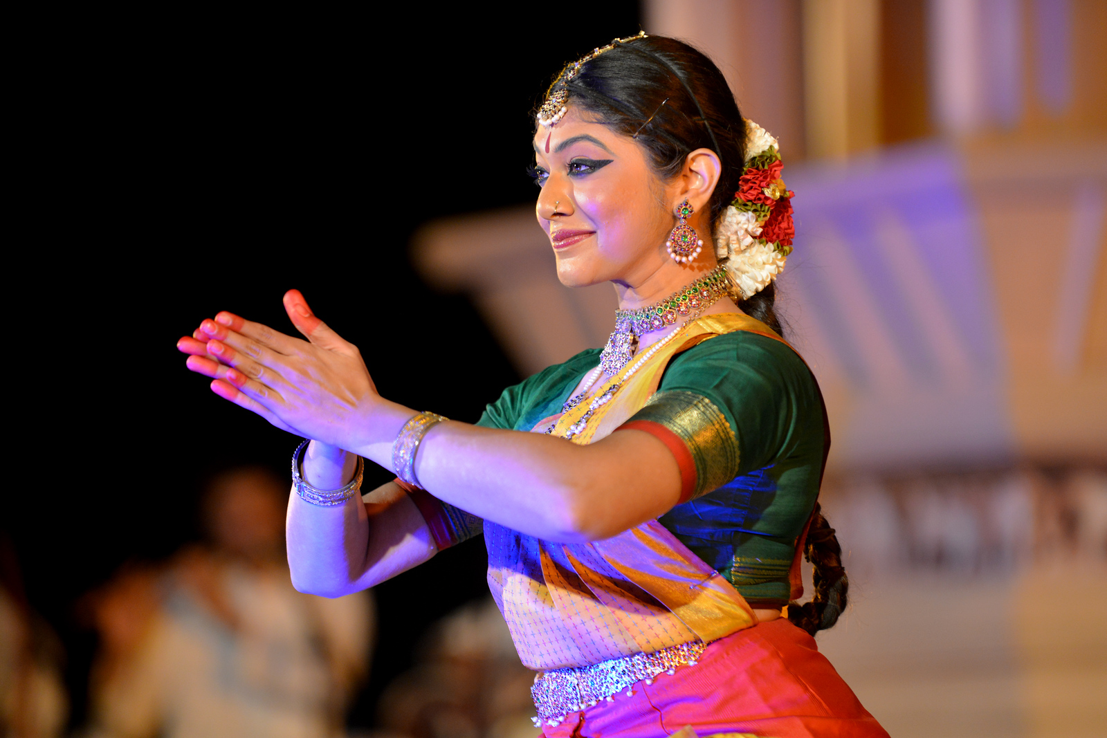 "Dakshina Vaidyanathan performed Bharatnatyam  at the Khajuraho Festival of Dances February, 2014.<br /> <br /> Khajuraho Festival of Dances is celebrated at a time when the hardness of winter begins to fade and the king of all seasons, spring, takes over. The most colorful and brilliant classical dance forms of India with their roots in the ling and rich cultural traditions across the country, offer a feast for the eyes during a weeklong extravaganza.<br /> <br /> Khajuraho is located in the Indian state of Madhya Pradesh and roughly 620 kilometers (385 miles) southeast of New Delhi, the temples of Khajuraho are famous for their so-called ""erotic sculptures"". Khajuraho was the cultural capital of the Chandela Rajputs, a Hindu dynasty that ruled from the 10th to 12th centuries."