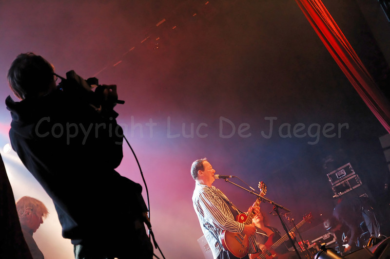 Live performance in open air of the Dutch band The Scene at St Jacobs square during the 2010 Ghent Festivities (Gentse Feesten) in Ghent (Gent), Belgium.