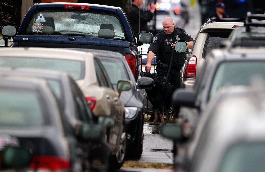 . A police officer inspects vehicles with his canine at a parking lot outside the Washington Navy Yard as he responds to a shooting September 16, 2013 in Washington, DC. Police believe there to be two shooters who killed several people and wounded others in an incident that put parts of the city on lockdown.  (Photo by Alex Wong/Getty Images)
