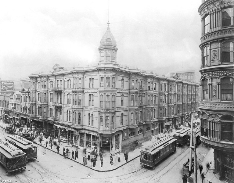 Exterior view of the Hollenbeck Hotel at the intersection of Second Street and Spring Street, Los Angeles, ca.1905