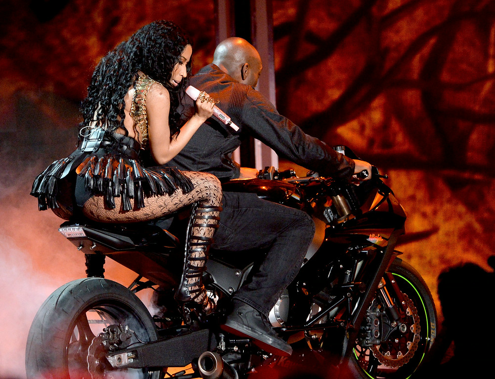 . Singer Nicki Minaj performs onstage during the BET AWARDS \'14 at Nokia Theatre L.A. LIVE on June 29, 2014 in Los Angeles, California.  (Photo by Kevin Winter/Getty Images for BET)