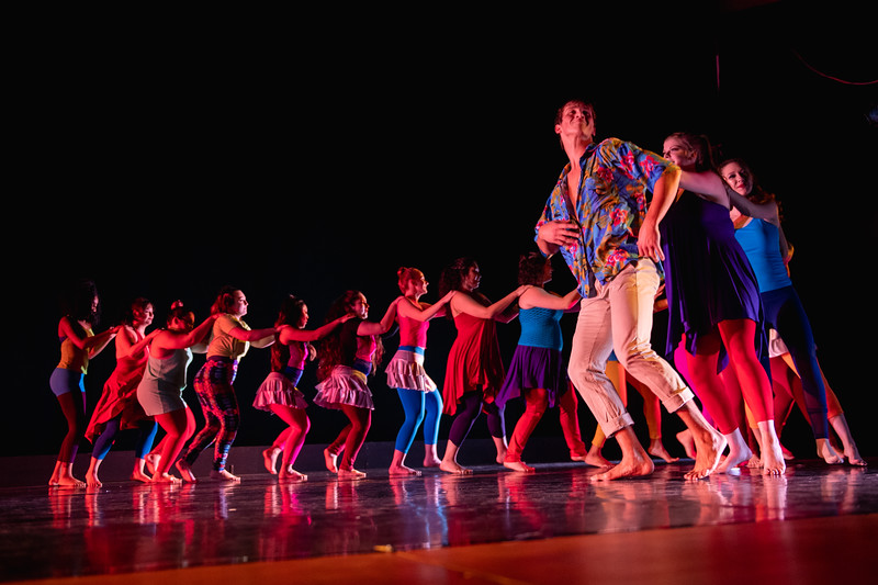 """""""Carnivale!"""" was choreographed by Kate Burrill, and performed by the World Dance & Culture class in the fall 2018 Island Dance Demo."""