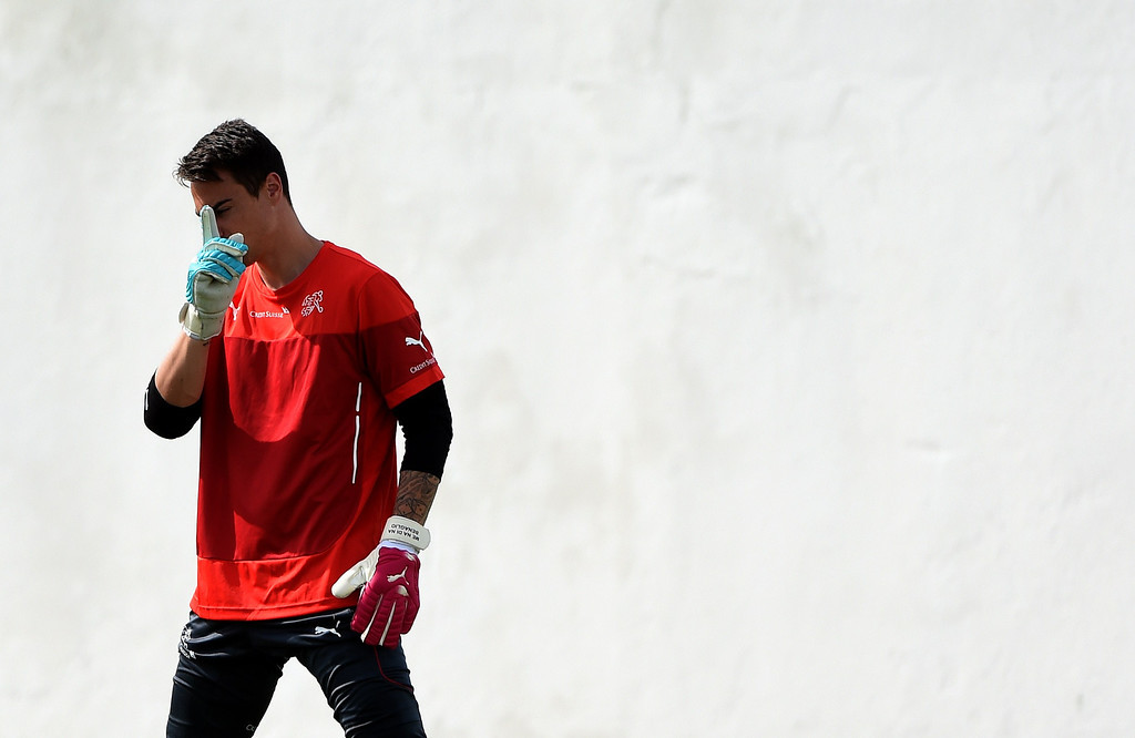 . Switzerland\'s goalkeeper Diego Benaglio takes part in a training session in Santo Andre on June 18, 2014, ahead of their match against France in Salvador during the  2014 FIFA World Cup. PATRIK STOLLARZ/AFP/Getty Images