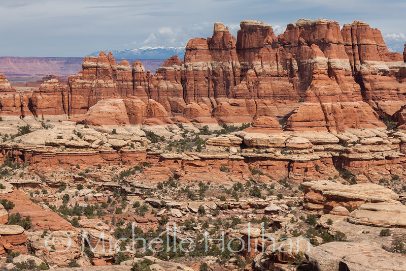 Mountains and rock formations in the Needles District of Canyonlands National Park, UT.