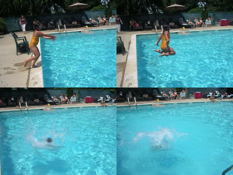 Charlotte runs, jumps, and splashes! Cannonballllll!