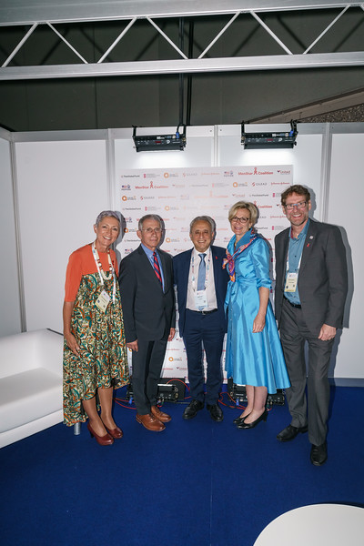 22nd International AIDS Conference (AIDS 2018) Amsterdam, Netherlands.   Copyright: Matthijs Immink/IAS Durable control of HIV infections in the absence of antiretroviral therapy: Opportunities and obstacles and Jonathan Mann Memorial Lecture: Data to drive equity Photo shows:  Linda-Gail Bekker Anthony Fauci Pedro Cahn Deborah L. Birx Anton Pozniac