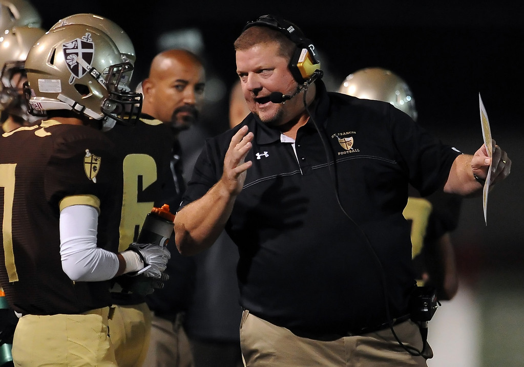 . St. Francis head coach Jim Bonds in the first half of a prep football game against Damien at St. Francis High School in La Canada, Calif., Friday, Sept. 27, 2013.   (Keith Birmingham Pasadena Star-News)
