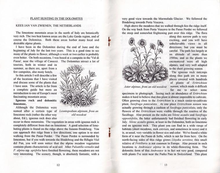 Plant Hunting in the Dolomites, Alpine Garden Club of B.C., Vol 40, No.1, Bulletin, February 1997, Kees Jan van Zwienen