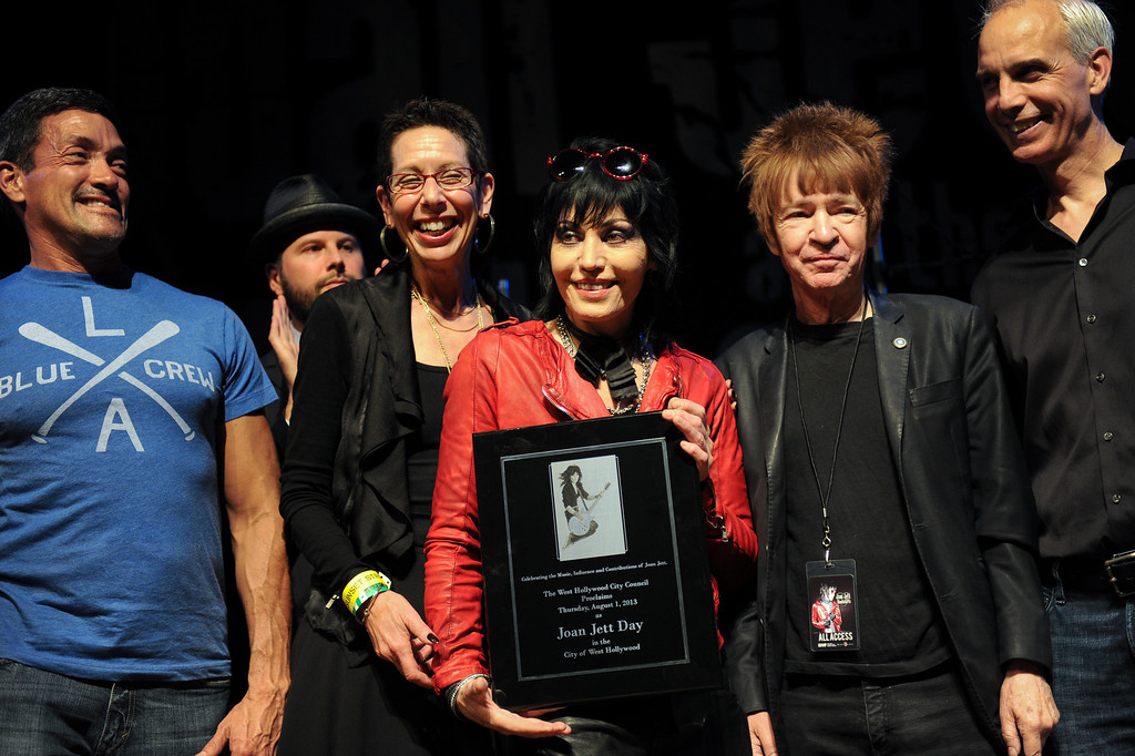. Joan Jett holds a plaque honoring Joan Jett Day in West Hollywood at the House of Blues, Thursday, August 1, 2013. (Michael Owen Baker/L.A. Daily News)