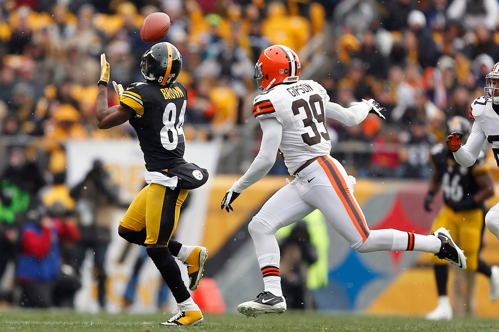 Description of . Pittsburgh Steelers wide receiver Antonio Brown (84) makes a catch past Cleveland Browns free safety Tashaun Gipson (39) in the first quarter of an NFL football game in Pittsburgh, Sunday, Dec. 30, 2012. (AP Photo/Gene J. Puskar)