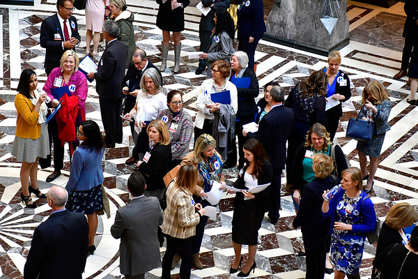 "3/27/2019 Mike Orazzi | Staff People gather at State Legislative Office Building in Hartford during the Connecticut Hospital Association's annual ""Connecticut Hospital Day"" event at the State Capitol on Wednesday."