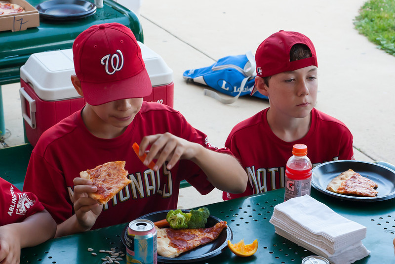 Celebrating Toby's birthday after an exciting 5-2 win over the Orioles. 2012 Arlington Little League Baseball, Majors Division. Nationals vs Orioles (09 Jun 2012) (Image taken by Patrick R. Kane on 09 Jun 2012 with Canon EOS-1D Mark III at ISO 1600, f8.0, 1/125 sec and 50mm)
