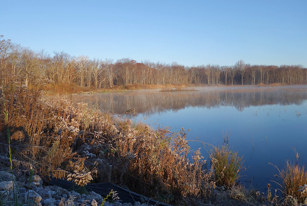 November Frost and Fog on Pond