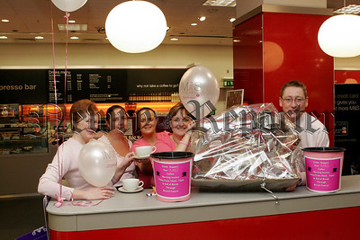 Coffee Morning at Marks & Spencer for Breast Cancer Awareness on Thursday last, Pictured Josephine Mc Aleenan, Pauline Musson,Nicola Quinn, Rosin Lennon,Mark Bsion.05W44N6