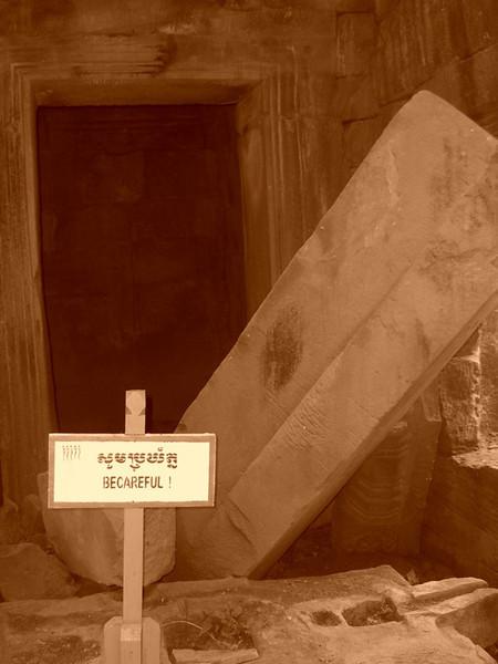 Warning Sign - Angkor, Cambodia