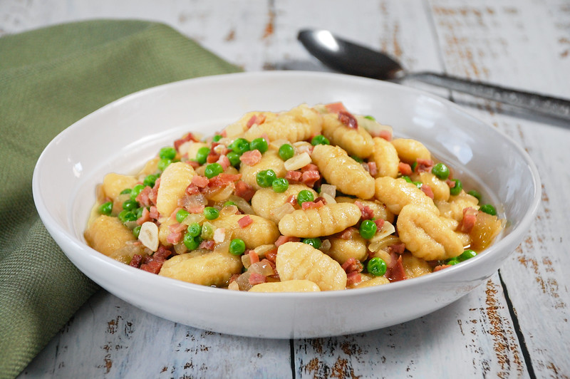 Cauliflower Gnocchi with Pancetta and Peas - JPEG