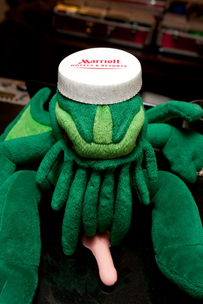 Cthulu, with the Marriott hat, and the cock.