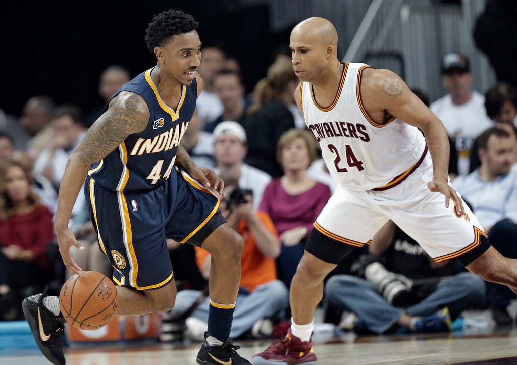 . Indiana Pacers\' Jeff Teague (44) drives past Cleveland Cavaliers\' Richard Jefferson (24) in the first half in Game 1 of a first-round NBA basketball playoff series, Saturday, April 15, 2017, in Cleveland. The Cavaliers won 109-108. (AP Photo/Tony Dejak)