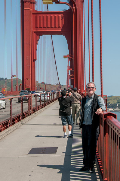 Tourists in the bike lane of Golden Gate Bridge, San Francisco, California