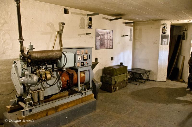 Inside the bunker, diesel powered generator