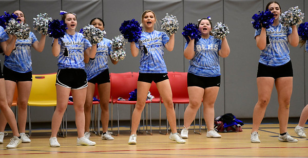 4/5/2019 Mike Orazzi | Staff Bristol Eastern High School Cheerleaders during Friday's Bristol's All Star Basketball Game held at the Boys & Girls Club of Bristol Family Center on West Street.