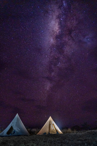 Milky Way over tents in the Serengeti