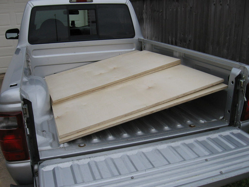 "Buy two 4X8 sheets of 3/4"" mdf or plywood, and have the yard crosscut them at 66"". The saw they will use has a coarse dull blade, so you will have to trim them to 64"" later, but it's easier to carry and handle each sheet in two sections. I chose Birch plywood because I hate to breathe mdf dust, but you can use either. If you have a router and plan to do a roundover of the corners you must use mdf since plywood tends to split under a roundover bit."