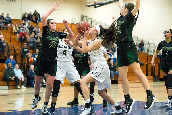 02/20/20 Wesley Bunnell | StaffrrNewington girls basketball defeated Enfield on thursday night at home in the first round of the conference tournament. Sabrina Soler (1) looks to shoot.
