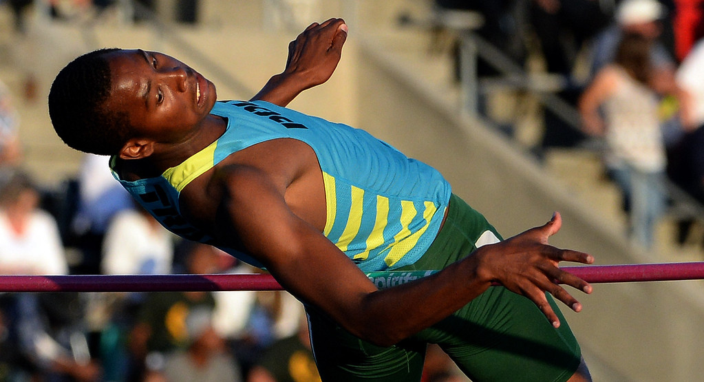 . Pasadena Poly\'s Vincent Calhoun competes in the high jump during the CIF-SS Masters Track and Field meet at Falcon Field on the campus of Cerritos College in Norwalk, Calif., on Friday, May 30, 2014.   (Keith Birmingham/Pasadena Star-News)