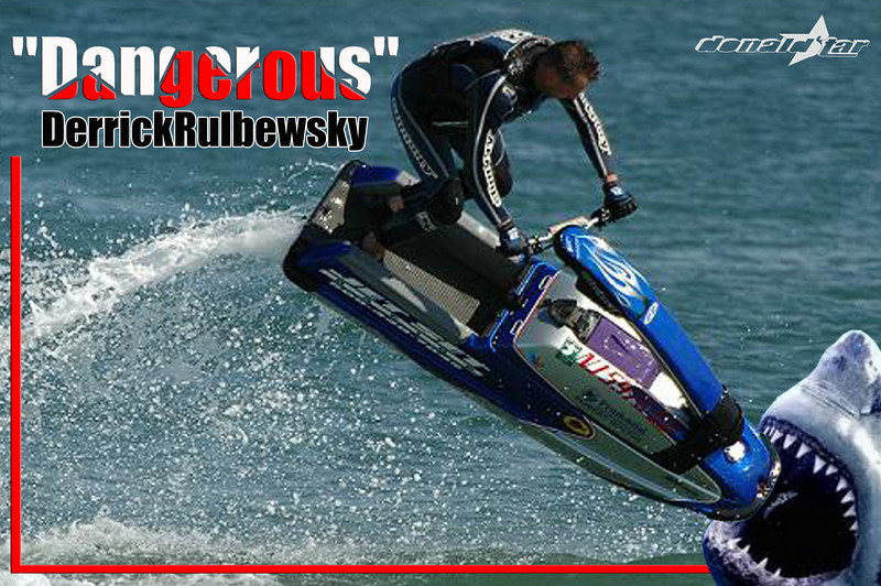 First one in the region 8 Wall of Fame! Dangerous Derrick Rulbewski, known for NEVER wearing shoes - no matter how cold the water. Derrick starting racing watercross ? and continues today 2011.