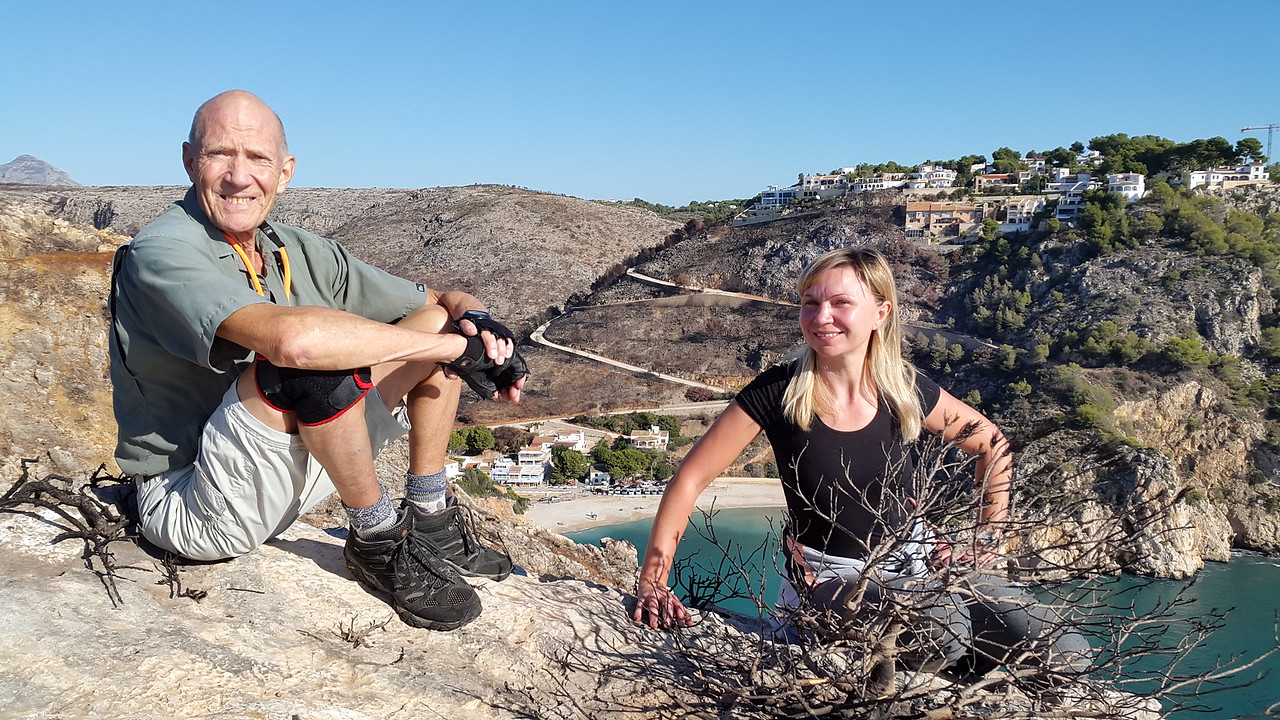 Vic and Olga amongst the burnt vegetation at Cala Granadella