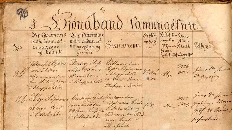1847 kb. Staðarb. Hún (Gifting HelgiBj-Guðrún)