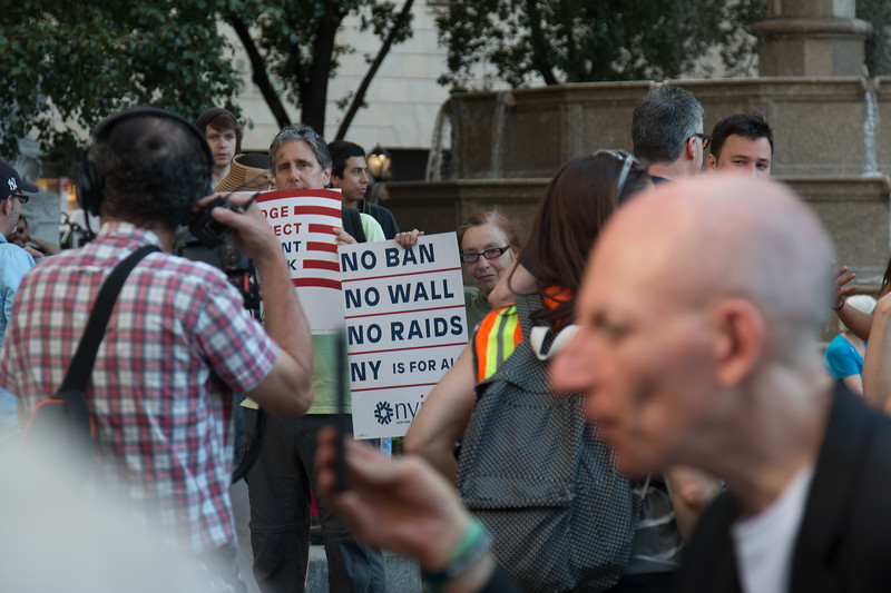 Gathering place for a protest (a block from Trump Tower) against the Trump Travel Ban, June 2017, NYC