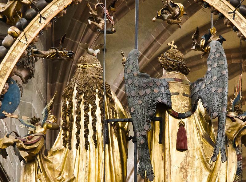 Nürnberg. St. Lorenz: Der englische Gruß, Rückseite, Detail